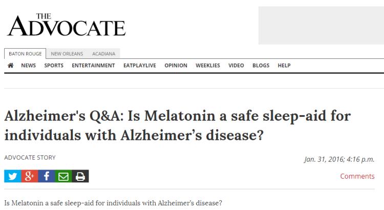 Use of Melatonin Sleep-Aids in Alzheimer's Patients